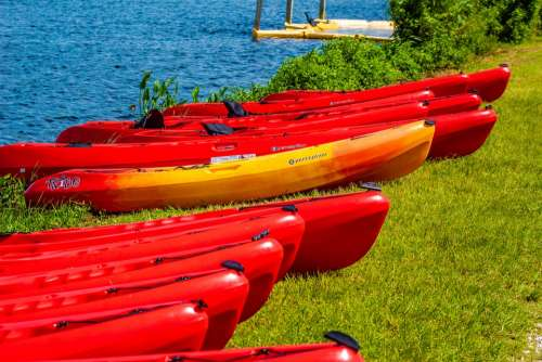 Kayaks Lake Canoe Kayaking Water Recreation