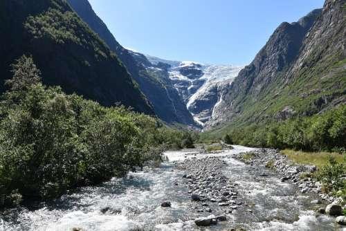 Kjenndal Glacier Norway Landscape Ice Mountains