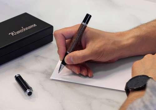 Kugelschreiber Schwarz Blackedition Gravur Black
