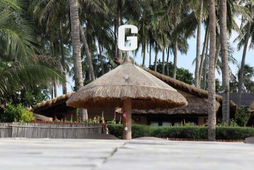 Letter G Coconut Tree Cottages Tent Beach Vacation