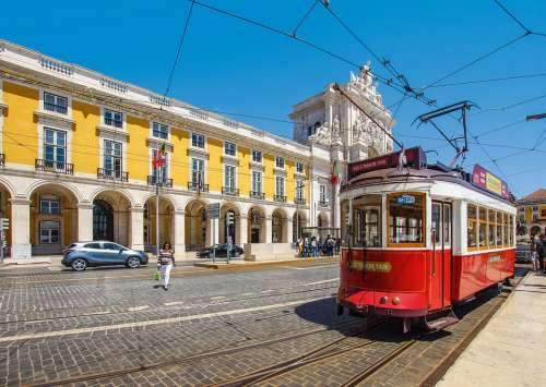 Lisbon Portugal Red Tram Architecture City Lisboa