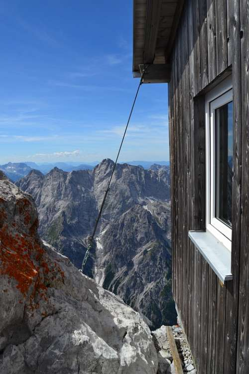 Mountain Hut Mountains Nature Alpine Panorama