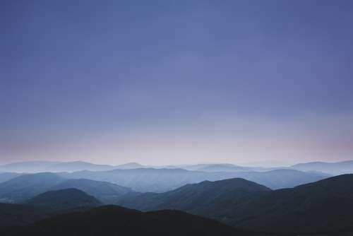 Mountains Blue Sky Minimal