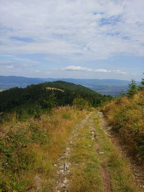 Mountains View Silesian Beskid Hiking Trail August