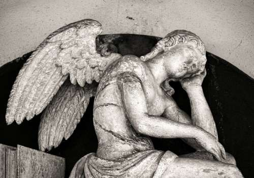 Mourning Cemetery Angel Sculpture Statue Death