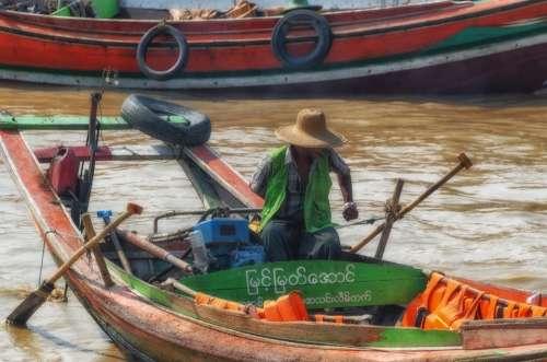 Myanmar Yangon Man Boat River Burma Asia Rangoon