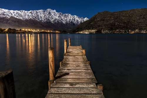 New Zealand Night Stars Moon Lights Tourism Sea