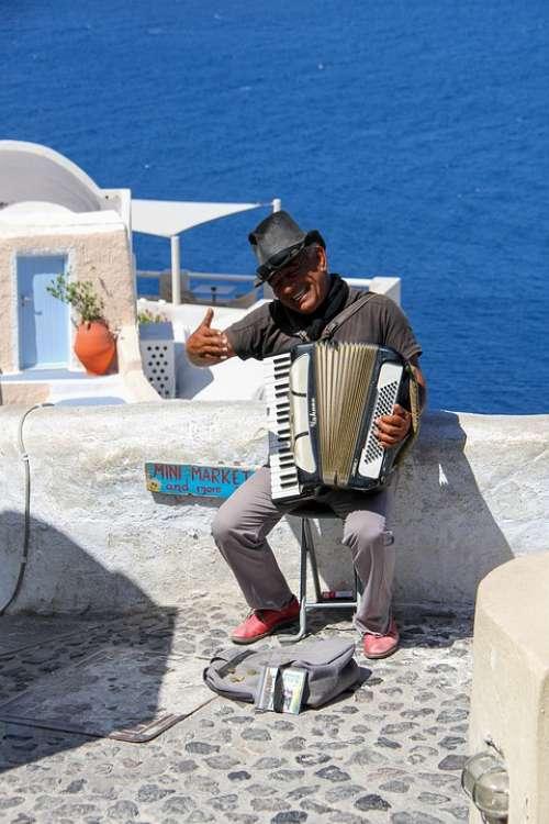 Oia Santorini Accordion Music Greece Travel