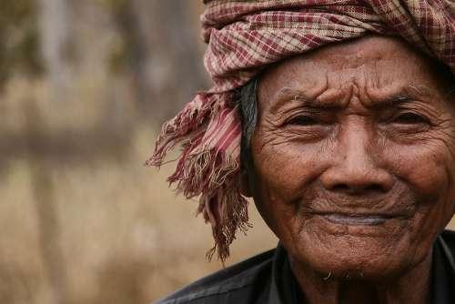 Old Man Old Man Cambodia Headscarf Headwear