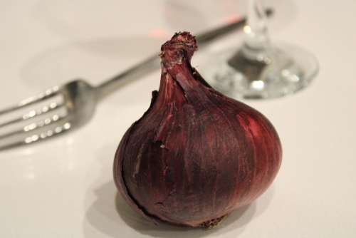 Onion Wine Glass Violet Fork Dinner Cook