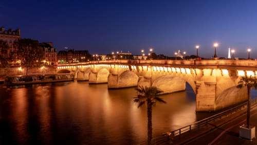 Paris Bridge New Bridge Lights Seine River