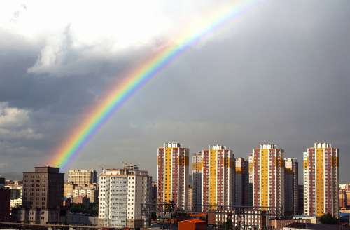 Rainbow Rain Sky City Weather Colorful Clouds