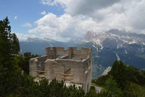 Ruine Since The Play Set Mountains Panorama