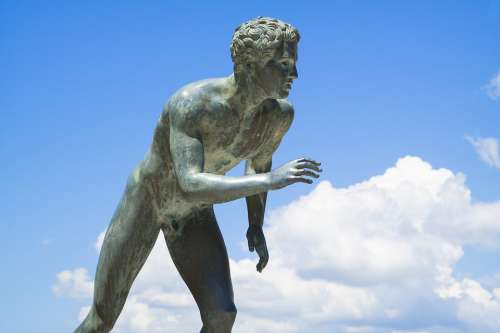 Runner Sculpture Statue Achilleion Corfu Greece