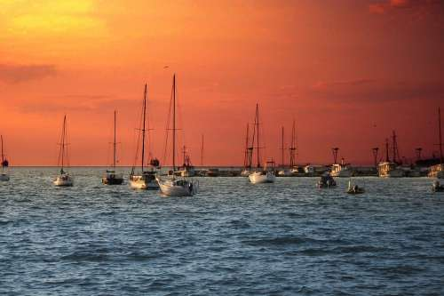 Sailing Boats Sunset Red Water Blue Mood Port