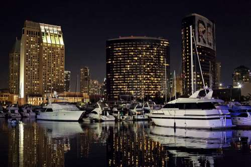 San Diego Skyline Night Evening Glow Harbor Marina