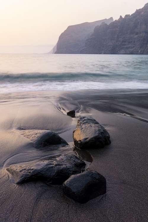 Sea Black Sand Stones Rocks Long Exposure Outdoors