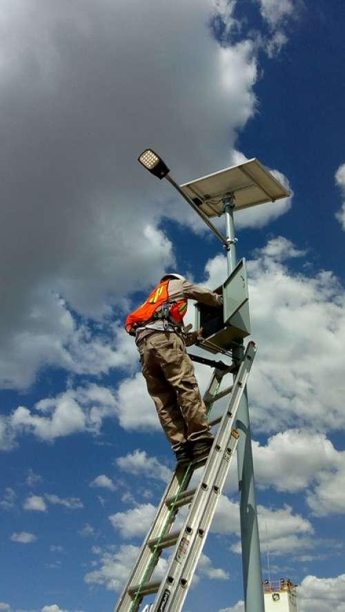 Solar Energy Posts Energy Sky Man Working Security