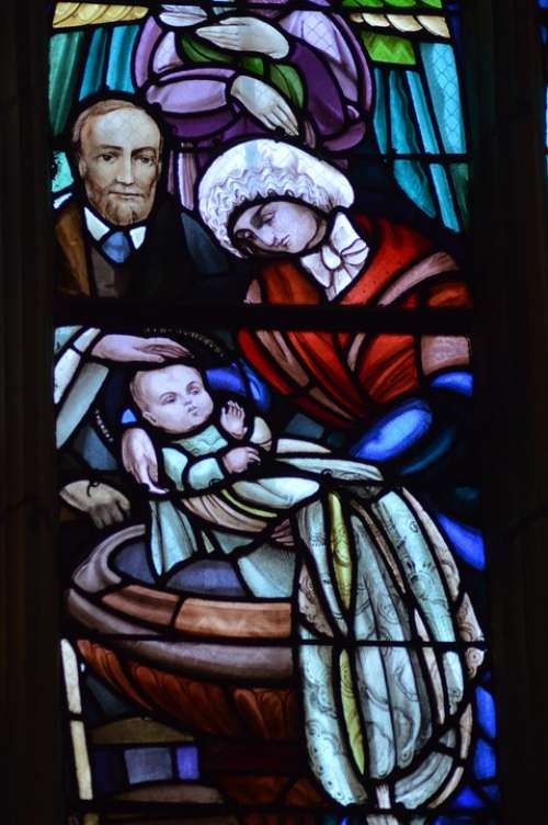 Stained Glass Window Church Baptism Theresa Baby
