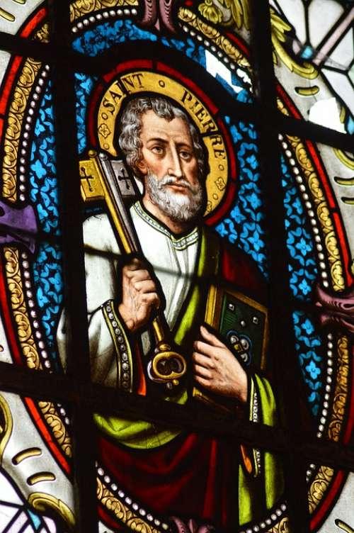 Stained Glass Window Church Saint Pierre Key
