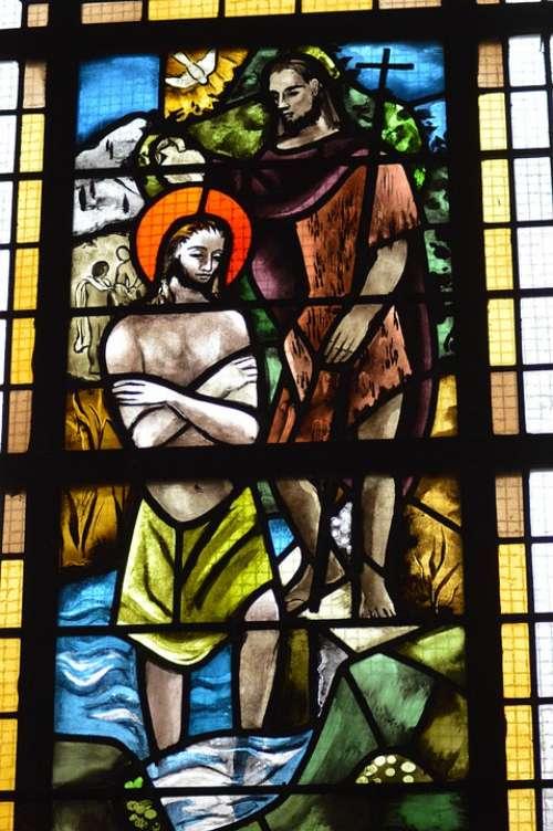 Stained Glass Window Church Faith Baptism Jesus