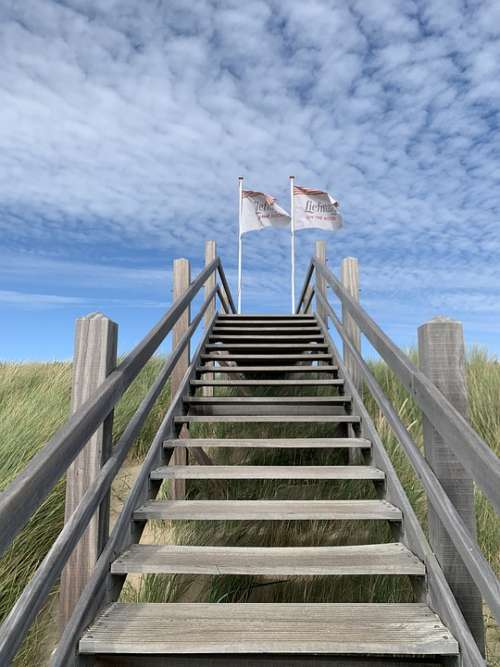 Stairs Beach Domburg Coast Dunes Sand Summer
