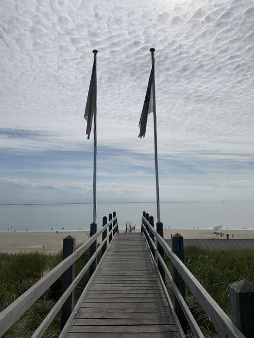 Stairs Sea Summer Holland Zoutelande Clouds Sky