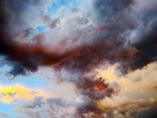 Storm Cloud Red Pink Yellow Blue