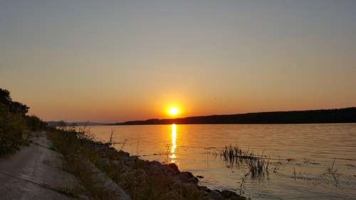 Sunset Water Serbia The Danube River Calm Summer