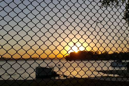 Sunset Water Serbia The Danube River Fence Wire