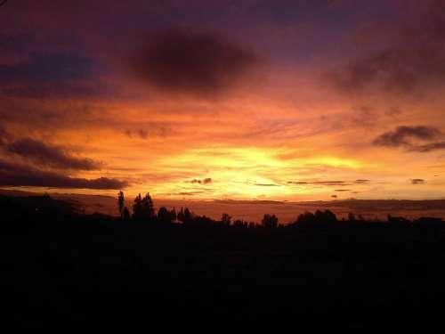 Sunset Nature Mountain Boyacá Sky Colors Dusk