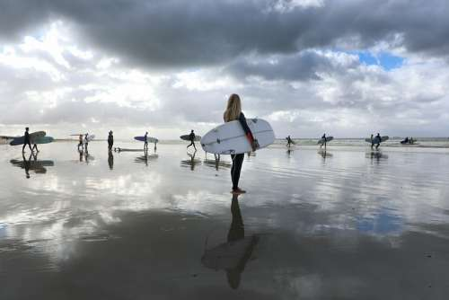 Surfers Reflection Beach Surfergirl Clouds Surf