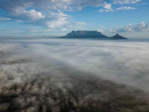 Table-Mountain Aerial Clouds Mountain Landscape