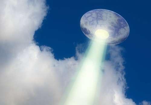 Ufo Saucer Flying Light Sky Background Beam