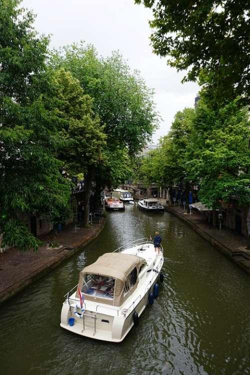 Utrecht City Netherlands Canal Flowers Houseboat