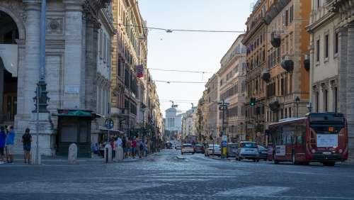 Via Nazionale Rome Buildings Auto Lights