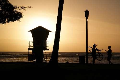 Waikiki Hawaii Honolulu Beach Silhouette Yellow