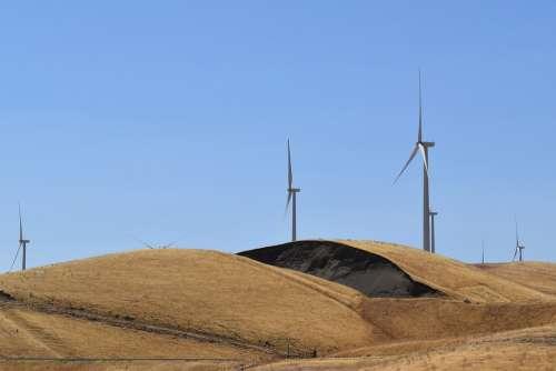 Wind Turbines Wind Energy Hills Sky