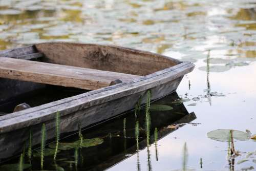 Wooden Boat Lake Reflection Summer Nature Outdoor