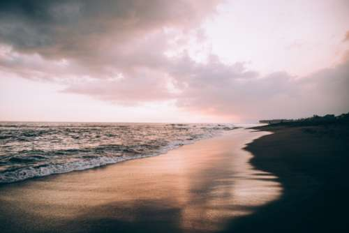 beach sand sunset seascape waves