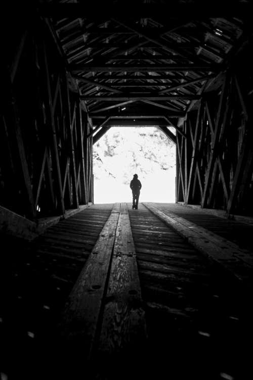 walk woman silhouette wooden bridge