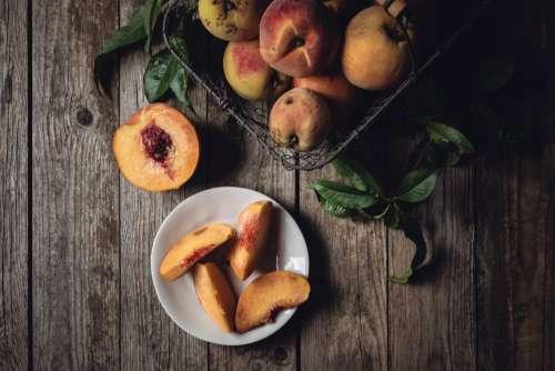 peaches top view fresh fruit