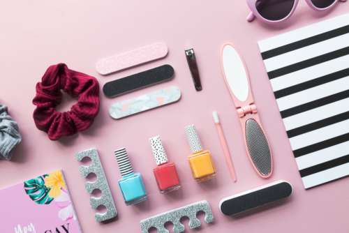 background fashion cosmetics products girl