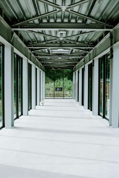 The Steel-Frame Corridor Of An Airport Photo