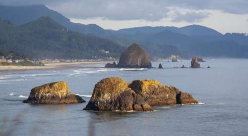 Rocky Sea By Forested Mountains Photo