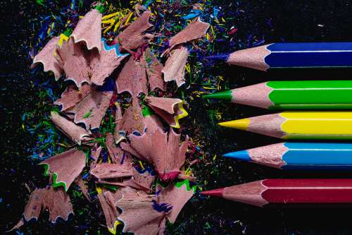 Coloring Pencils On Black Photo