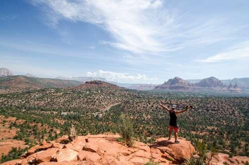 Man Greets Desert Photo