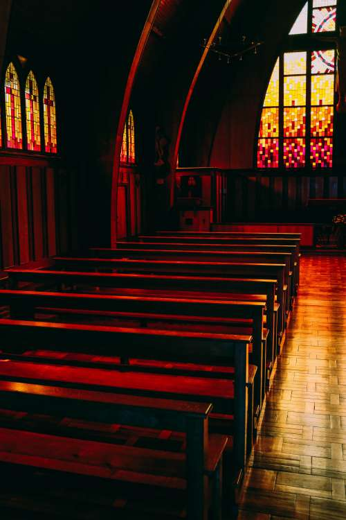 Red Light In Church Photo