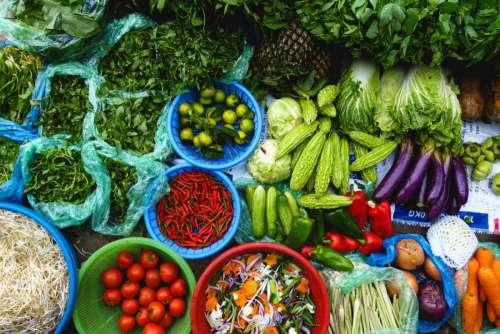 Colorful fresh produce at Asian market