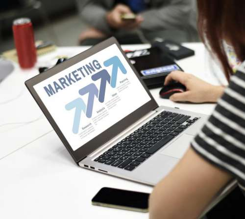 Laptop with marketing graphic